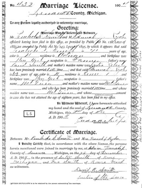 Michigan Marriage License Records Michigan Marriage License