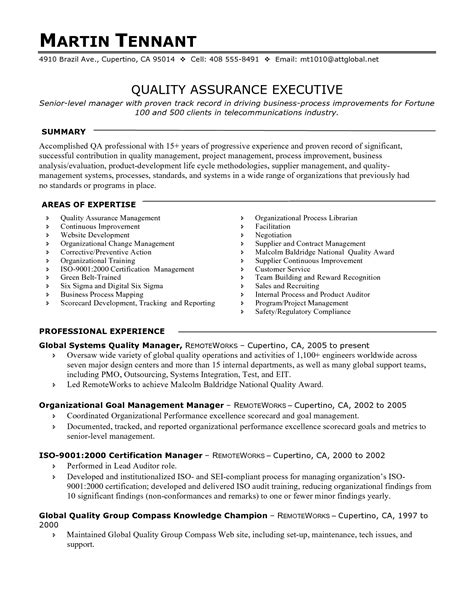Quality Managers Resume by Quality Assurance Manager Resume Sle Printable