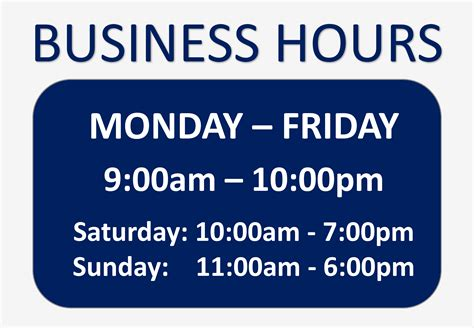 free business hours sign templates at