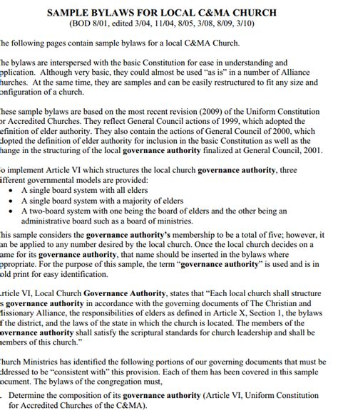 church bylaws template bylaws template word zoro blaszczak co