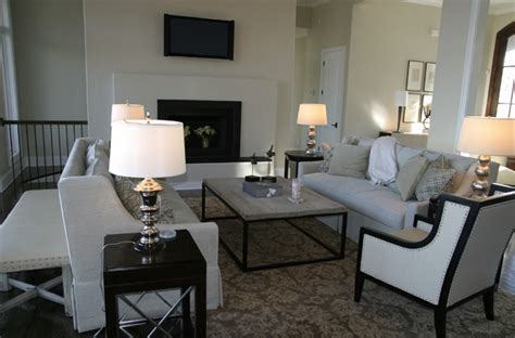 black and ivory living room damask rug transitional living room fowler interiors