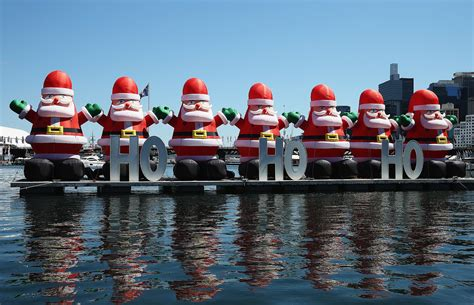 christmas decorations were displayed on the water in