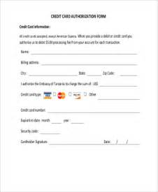 Credit Card On File Template Credit Card Authorization Form Sles 10 Free
