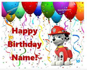 paw patrol marshall happy birthday balloons edible cake topper