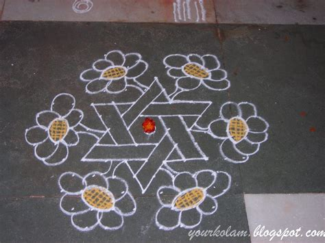 new design flower kolam with dots அழ ய த க லம మ గ గ ల र ग ल flower kolam