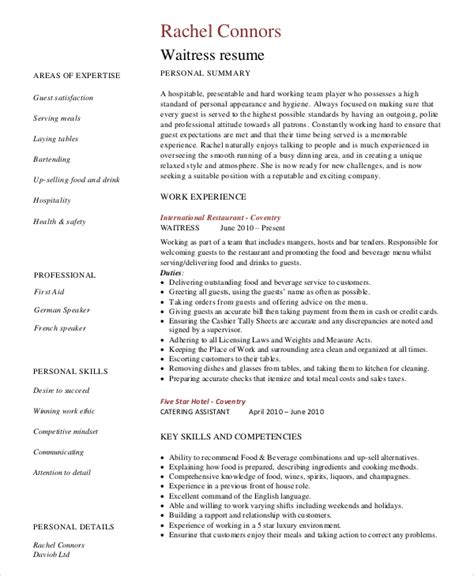 Restaurant Server Resume by Sle Server Resume 7 Exles In Word Pdf