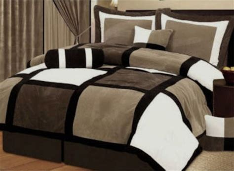 comforter bed 7 pcs black brown microsuede patchwork comforter bedding