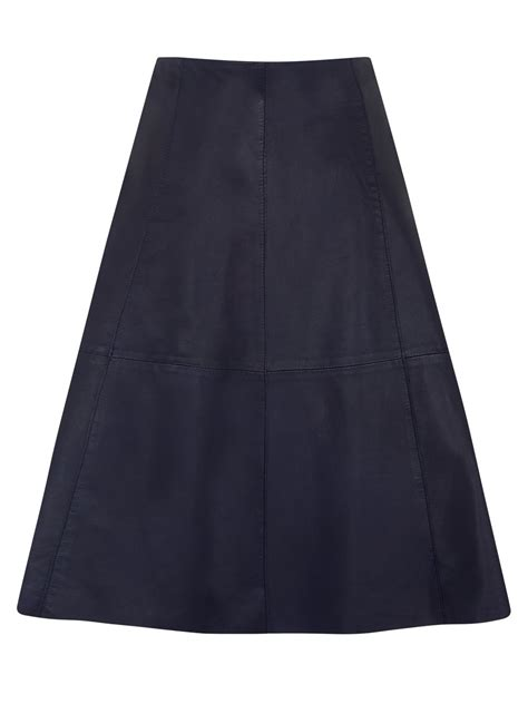 falda navy flared leather skirt