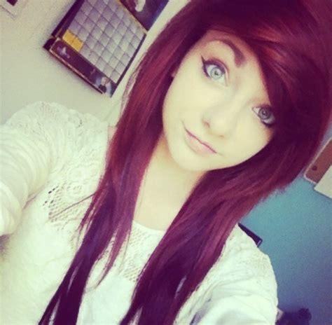 emo hairstyles burgundy pretty scene girl on tumblr