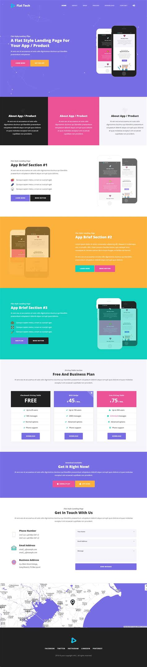flat tech flat one page app landing page template