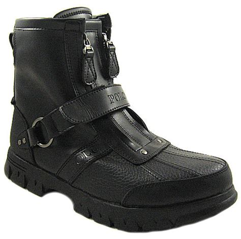 new polo r l mens conquest hi ii black leather boots us 8