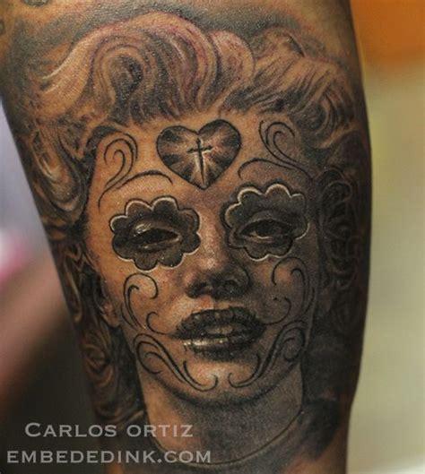 marilyn monroe skull tattoo marilyn sugar skull carlos ortiz embededink