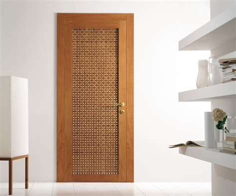 Modern Wood Doors Interior Modern Interior Swing Door Featuring A Cherry Wood Lattice Hinged Panel For The Home