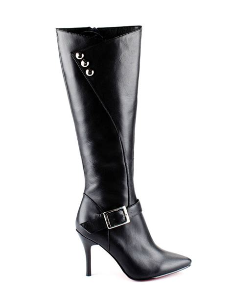 black cow leather pointed toe s high heel