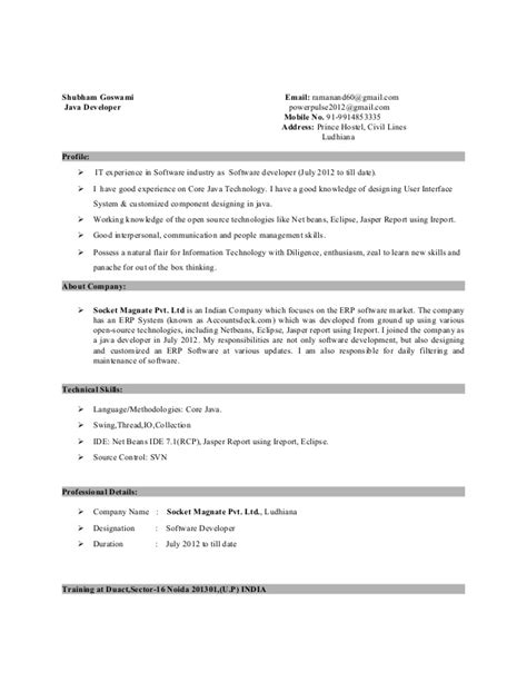 sle resume for java developer 2 year experience sle resume for 2 years experienced java developer resume