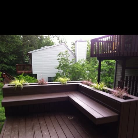 built in deck bench deck design built in bench w planters deck pinterest
