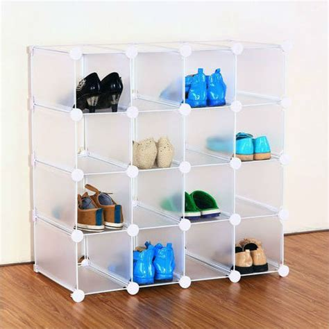 storage cubes for shoes interlocking 16 pairs plastic cube shoe rack organizer fh