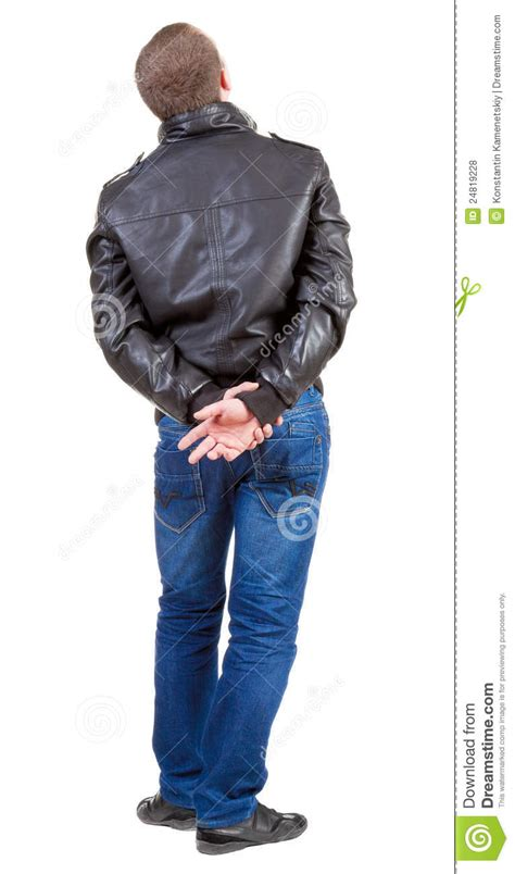 view  handsome man  jacket   stock