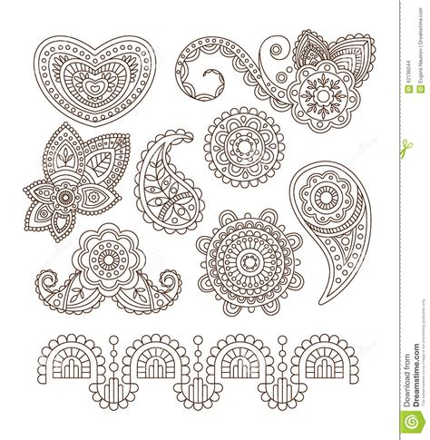 indian floral set ethnic mandala ornament vector henna indian floral ornaments mandala henna vector stock
