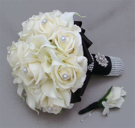 silk bridal bouquet silk flower bridal bouquet stephanotis real touch roses calla lilies songsfromthegarden