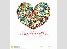 Happy Valentines Day Heart With Colorful Swirls Stock ... Happy Valentines Day Clip Art Children