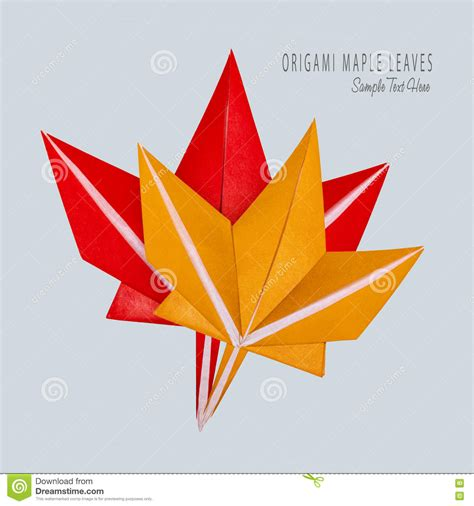Origami Paper Canada - origami fall maple leaves stock photo image 75944964