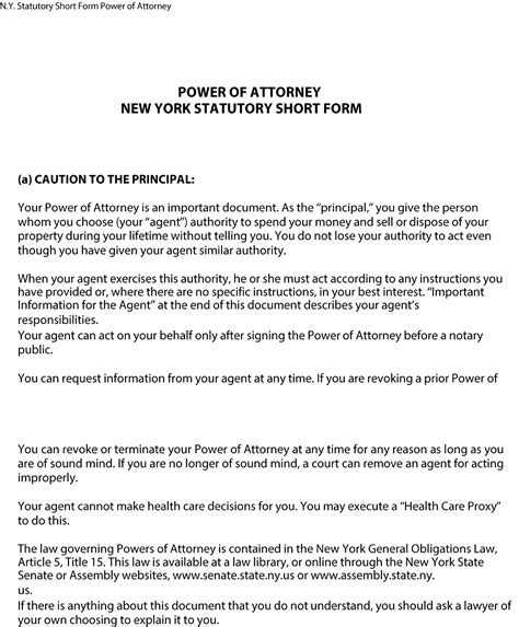 Statutory Power Of Attorney Form New York Free Download Power Of Attorney Template Ny