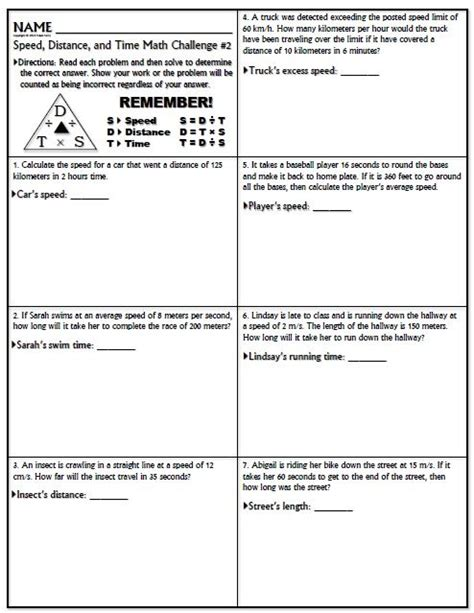 Speed Worksheet With Answers by Worksheet Speed Math Challenge Version 1 Distance The