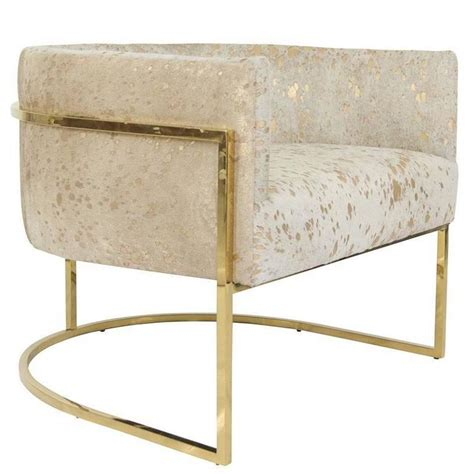 Gold Accent Chair Lisbon Accent Chair In Gold Speckled Cowhide And Brass For Sale At 1stdibs