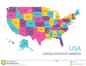 america states map usa united states of america colored vector map with