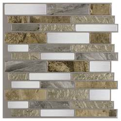 Bathroom Wall Panels Lowes Shop Peel Amp Stick Mosaics Mountain Terrain Linear Mosaic