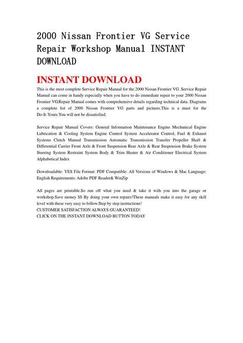 2000 nissan frontier vg service repair workshop manual instant download by jhfgbsehn issuu