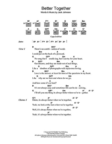 better together chords better together sheet by johnson lyrics