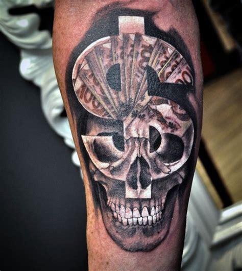 tattoo logos for money unusual colored dollar money symbol with human skull