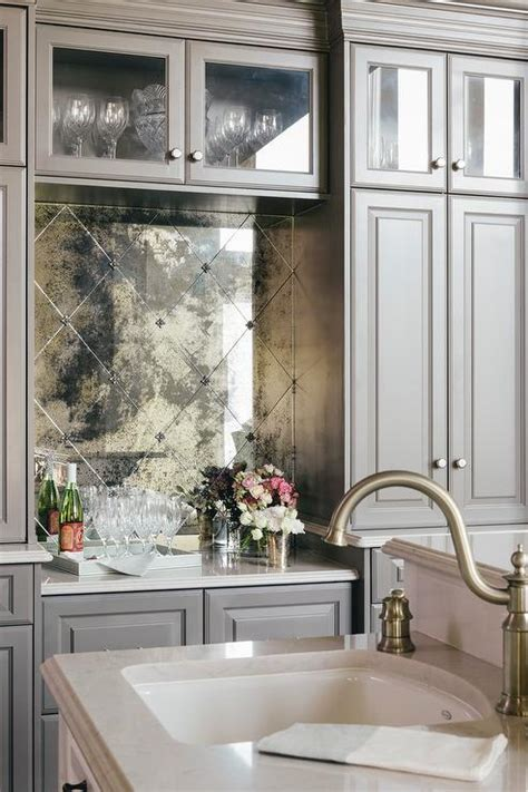 mirror kitchen backsplash gray wire brushed oak bar cabinets with mirrored tile backsplash contemporary living room
