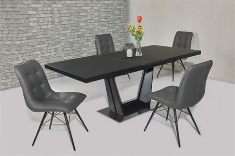 Extending Black Glass Dining Table And 6 Chairs Set Matt Black Glass Dining Table 6 Grey Padded Chairs Homegenies