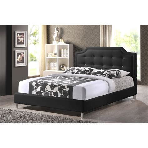 king size bed with padded headboard king size baxton studio carlotta black modern bed with