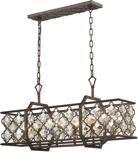 kitchen island chandelier lighting elk 31098 6 armand weathered bronze kitchen island