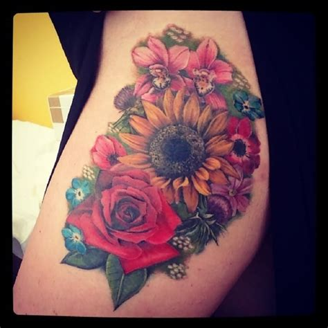 sunflower and rose tattoo sunflower tattoos page 3