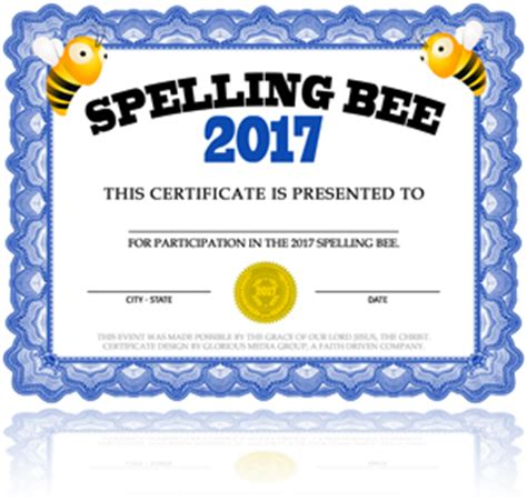 templates for spelling bee certificates free spelling bee certificate