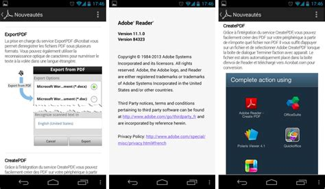 adobe reader android adobe reader 11 1 0 la mise 224 jour arrive sur le play store