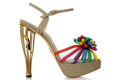 unique wedding shoes rainbow and gold onewed