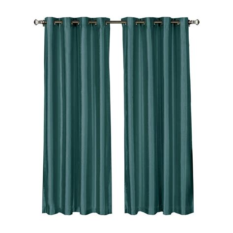 Grey And Teal Curtains Window Elements Faux Silk 84 In L Grommet Curtain Panel Pair Grey Teal Set Of 2