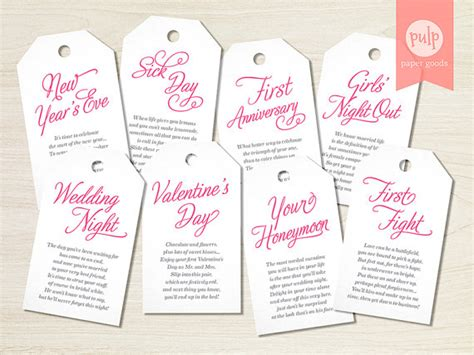 bridal shower and bachelorette gift etiquette printed item tags with poems shower or