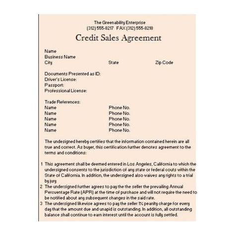 Credit Line Agreement Sle Form Determine Interest Rates On Notes Receivable