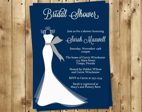 bridal shower invitations wedding gown navy blue white