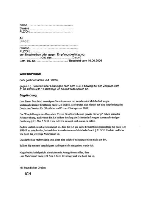 Widerspruch Schreiben Muster Versicherung Mehrbedarf Ern 228 Hrung Erwerbslosen Forum Deutschland Elo Forum