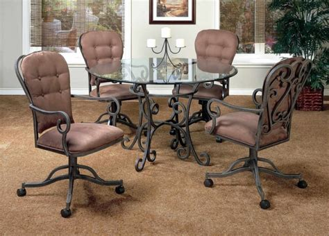 Wrought Iron Kitchen Table And Chairs Furniture Black Wrought Iron Kitchen Chairs With Wheels And Arm Grey Seat Cushion