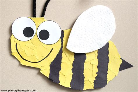 How To Make A Paper Bee - bee craft template primary theme park