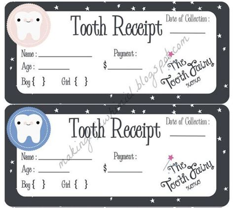 tooth receipt template free the world s catalog of ideas